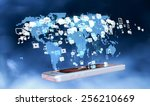 smart phone with holographic... | Shutterstock . vector #256210669