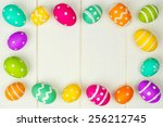 colorful easter egg frame... | Shutterstock . vector #256212745