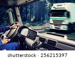 driver view from the cockpit of ... | Shutterstock . vector #256215397