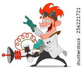 mad scientist with laser.... | Shutterstock .eps vector #256221721