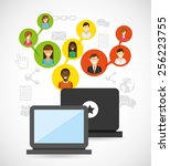 social network design  vector... | Shutterstock .eps vector #256223755