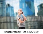 young beautiful business woman... | Shutterstock . vector #256227919