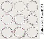 set of nine hand draw vector... | Shutterstock .eps vector #256231111