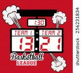 basketball design over red... | Shutterstock .eps vector #256231834