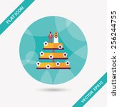wedding cake flat icon with... | Shutterstock .eps vector #256244755