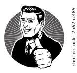 retro illustration man thumb up | Shutterstock .eps vector #256255489