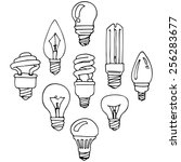 bulb  set of hand drawn design... | Shutterstock .eps vector #256283677