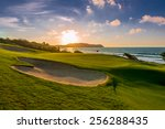 sand bunkers at the beautiful... | Shutterstock . vector #256288435