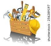 wooden toolbox with tools... | Shutterstock .eps vector #256289197