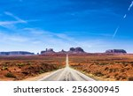 view of the monument valley and ... | Shutterstock . vector #256300945