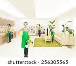 young caucasian woman happy... | Shutterstock . vector #256305565