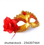 Gold Carnival Mask With Red...