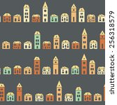 vintage colorful houses brown... | Shutterstock .eps vector #256318579