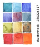 watercolor squares backgrounds   Shutterstock .eps vector #256326517
