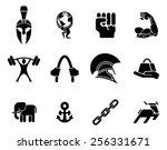 conceptual strength icon set of ...