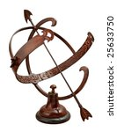 Small photo of Armillary Sundial isolated on white with a clipping path