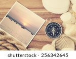travel concept  travel items on ... | Shutterstock . vector #256342645