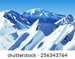vector snowy mountains  eps 10... | Shutterstock .eps vector #256343764