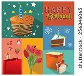 vector birthday cake... | Shutterstock .eps vector #256346065