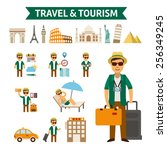 travel and tourism infographic... | Shutterstock .eps vector #256349245