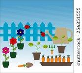 outdoor gardening tools and... | Shutterstock .eps vector #256351555