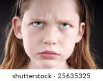 young girl looking angry or... | Shutterstock . vector #25635325