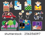 schedule an office worker...   Shutterstock .eps vector #256356097