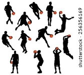 set of basketball player... | Shutterstock .eps vector #256356169