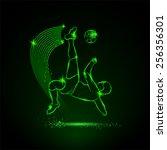 soccer kick in falling. neon... | Shutterstock .eps vector #256356301