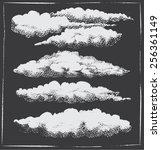 chalkboard vintage retro cloud... | Shutterstock .eps vector #256361149