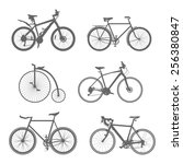 Vector Set Of Silhouettes Bike...