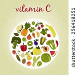 vitamin c   fruits and... | Shutterstock .eps vector #256418251