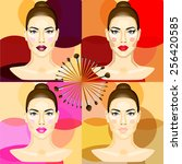 woman make up stages... | Shutterstock . vector #256420585