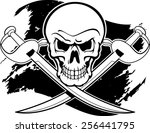 skull with crossing cutlass... | Shutterstock .eps vector #256441795