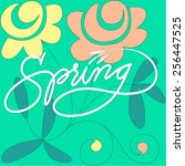 spring hand made lettering with ... | Shutterstock .eps vector #256447525