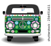 hippie groovy van peace and love | Shutterstock .eps vector #256451611