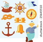nautical icons and lucky seaman.... | Shutterstock .eps vector #25645510