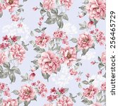 fresh spring flowers seamless... | Shutterstock . vector #256465729