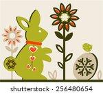 easter rabbit egg flowers egg...   Shutterstock .eps vector #256480654