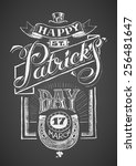 happy st. patrick's day. chalk... | Shutterstock .eps vector #256481647
