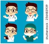 doctor character set | Shutterstock .eps vector #256483939
