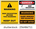 warning deep excavation beyond... | Shutterstock .eps vector #256486711