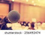 microphone in concert hall or... | Shutterstock . vector #256492474