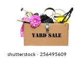 a large cardboard box filled... | Shutterstock . vector #256495609