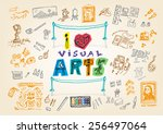 i love visual arts doodle... | Shutterstock .eps vector #256497064