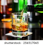 whiskey pouring from a bottle... | Shutterstock . vector #256517065