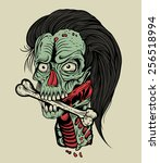 illustration zombie head with a ... | Shutterstock . vector #256518994