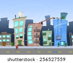 Seamless Cartoon City Landscap...