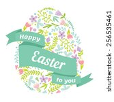 easter egg decorated with... | Shutterstock .eps vector #256535461
