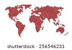 world map dots   scaled red... | Shutterstock .eps vector #256546231